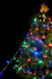 Albero di Natale con indicatore luminoso ed il flash. Immagine Stock Libera da Diritti