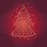 Albero di Natale con l'ornamento e la scintilla Immagini Stock Libere da Diritti