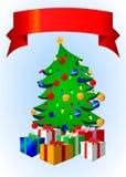 Albero di Natale con la bandiera Immagine Stock Libera da Diritti