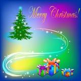 Albero di Natale con la decorazione leggera ed il Buon Natale del testo Fotografia Stock