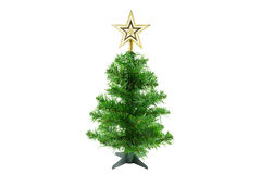 Albero di Natale con la stella d'oro su fondo bianco Fotografia Stock