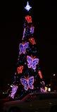 Albero di Natale con le belle farfalle Fotografia Stock Libera da Diritti