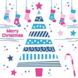 Albero di Natale con le calze Fotografia Stock
