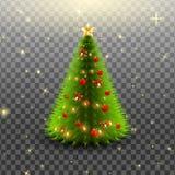 Albero di Natale con le campane, le palle rosse e la stella isolate su fondo trasparente Illustrazione di vettore Immagine Stock Libera da Diritti