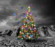 Albero di Natale con le farfalle Immagine Stock