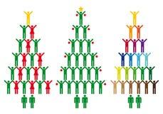 Albero di Natale con le icone della gente, vettore Fotografie Stock
