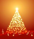 Albero di Natale con le note musicali Fotografie Stock Libere da Diritti