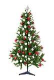 Albero di Natale con le palle variopinte isolate su bianco Fotografia Stock
