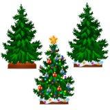 Albero di Natale con le palle variopinte, la stella, i giocattoli e le bagattelle isolati su fondo bianco Schizzo per la cartolin illustrazione di stock