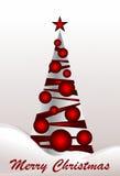 Albero di Natale con le sfere rosse Fotografia Stock Libera da Diritti