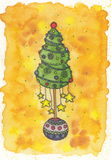 Albero di Natale con le stelle Fotografia Stock Libera da Diritti