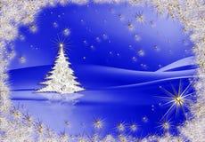 Albero di Natale con le stelle su priorità bassa blu Fotografia Stock