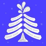 Albero di Natale con spazio per la scrittura dei desideri Fotografia Stock