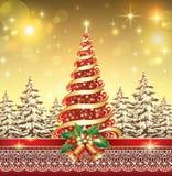 Albero di Natale con una stella Immagini Stock Libere da Diritti