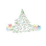 Albero di Natale, contenitore di regalo, illustrazione di vettore nella progettazione di schizzo per i siti Web Immagini Stock Libere da Diritti