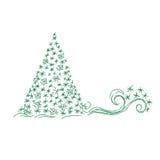 Albero di Natale, contenitore di regalo, illustrazione di vettore nella progettazione di schizzo per i siti Web Fotografia Stock