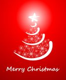 Albero di Natale creativo con i fiocchi di neve Fotografia Stock