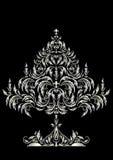 Albero di Natale d'argento nello stile vittoriano Fotografia Stock
