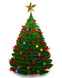 albero di Natale 3d su un fondo bianco Fotografia Stock Libera da Diritti