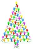 Albero di Natale da una serie di luci su bianco Fotografia Stock Libera da Diritti