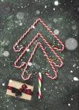 Albero di Natale dai bastoncini di zucchero e dalla scatola con il regalo su un BAC verde Immagine Stock