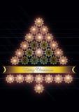 Albero di Natale dai fiocchi di neve dorati con il nastro Fotografia Stock Libera da Diritti