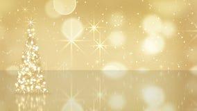 Albero di Natale dalle stelle d'oro Fotografia Stock Libera da Diritti