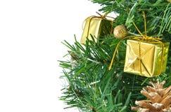 Albero di Natale decorato dorato isolato Fotografie Stock Libere da Diritti