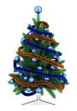 Albero di Natale decorato isolato su bianco Fotografia Stock Libera da Diritti