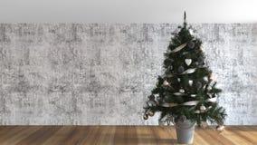 Albero di Natale decorato nel salone fotografie stock libere da diritti