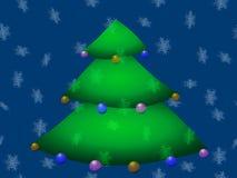 Albero di Natale decorato sulla caduta blu dei fiocchi di neve del fondo Immagine Stock Libera da Diritti
