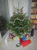 Albero di Natale decorato variopinto con abbondanza di christm avvolto immagine stock libera da diritti