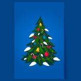 Albero di Natale decorato, vettore Fotografia Stock Libera da Diritti