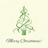 Albero di Natale, decorazione verde di natale del filo Fotografia Stock Libera da Diritti