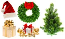 Albero di Natale degli ornamenti delle decorazioni della raccolta di Natale Immagini Stock