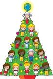 Albero di Natale dei bambini del paese Immagini Stock