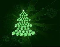 Albero di Natale dei diamanti verdi illustrazione di stock