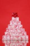 Albero di Natale del cubo di ghiaccio Fotografie Stock