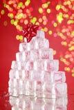 Albero di Natale del cubo di ghiaccio Fotografia Stock Libera da Diritti