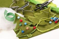 Albero di Natale del feltro di fai-da-te Fotografia Stock Libera da Diritti