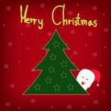 Albero di Natale del fondo con i fiocchi di neve e Santa Fotografia Stock Libera da Diritti