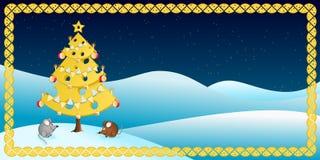 Albero di Natale del formaggio con due topi Illustrazione Vettoriale