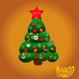 Albero di Natale del fumetto con i regali ed i giocattoli Fotografia Stock Libera da Diritti