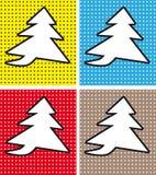 Albero di Natale del fumetto fondo dei fumetti di stile di Pop art nel retro Fotografie Stock
