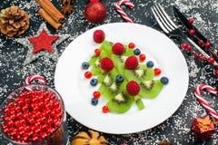 Albero di Natale del kiwi con il lampone, il mirtillo e l'uva di monte sulla tavola con la decorazione immagine stock