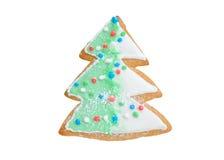 Albero di Natale del pan di zenzero con la ghirlanda isolata Immagini Stock Libere da Diritti