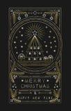 Albero di natale del profilo dell'oro del nuovo anno di Buon Natale royalty illustrazione gratis