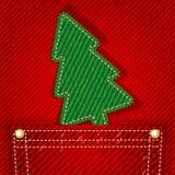 Albero di Natale del tessuto in casella dei jeans Fotografia Stock