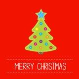 Albero di Natale del tessuto con i bottoni e la stella. Carta. Immagine Stock Libera da Diritti