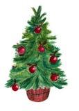Albero di Natale dell'acquerello Fotografie Stock Libere da Diritti